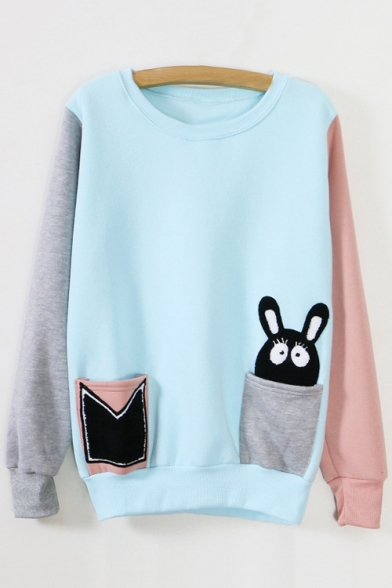 Lovely Rabbit Cartoon Pattern Round Neck Long Sleeves Color Block Pullover Sweatshirt with Pockets