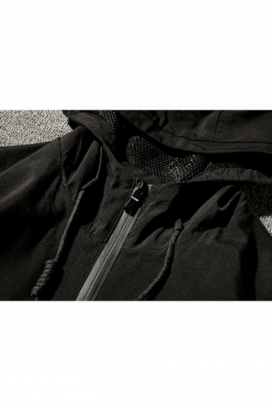 New Arrival Letter Patchwork Detail Long Sleeve Zip Up Hooded Leisure Coat
