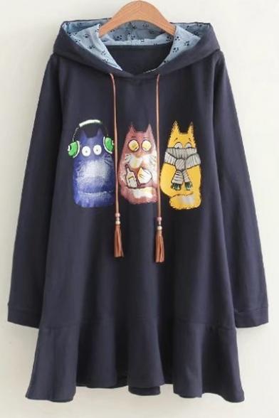 New Design Cartoon Cat Print Long Sleeves Drawstring Hooded Mini Dress