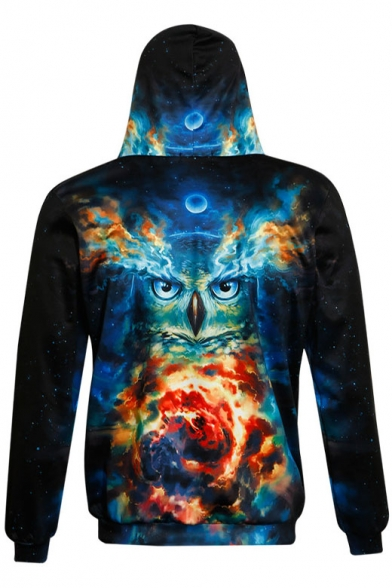 New Hoodie Sleeve Pocket Print Owl with Fashion Long Colorful 3D B0wqBxpr