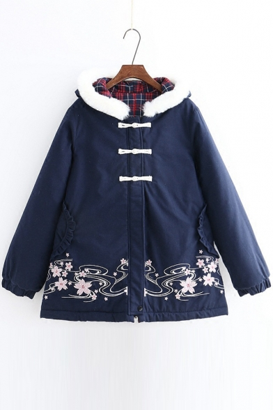 New Floral Embroidery Zippered Long Sleeve Padded Hooded Coat with Pockets