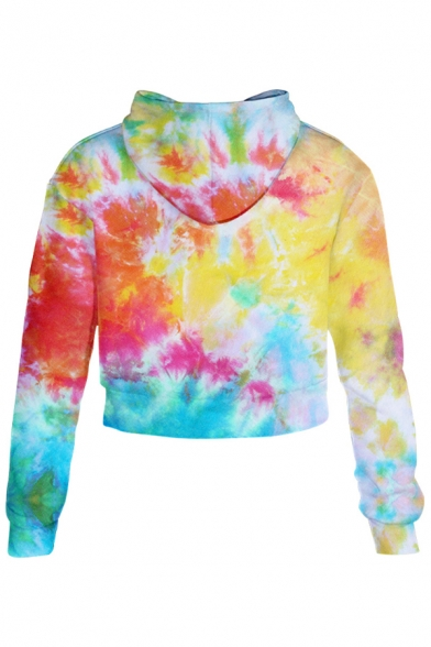 Pop Ombre Tie Dye Long Sleeves Loose Leisure Cropped Hoodie with Drawstring