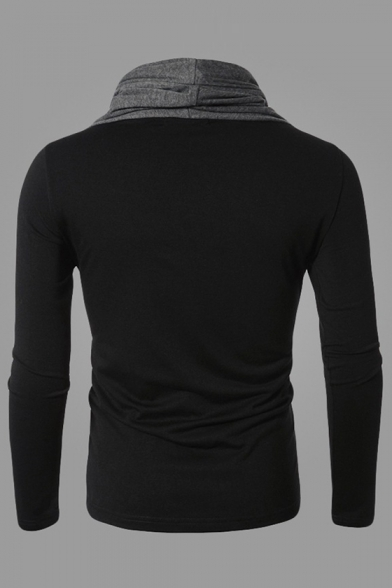 Slim Turtleneck Long Fit Sleeves shirt T Pullover Contrast Simple qaBwgg