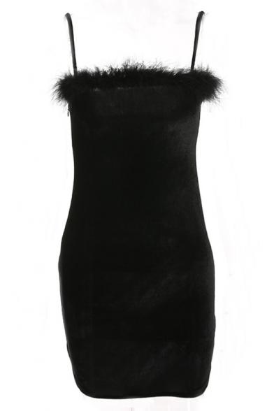 Mini Faux Fur Dress Simple Cami Hem Plain nzS7X7