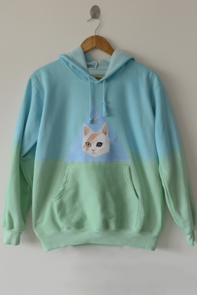 Stylish Sleeve Dye Tie Cat Hoodie Print Casual Long Pocket BXZ7Zr5n