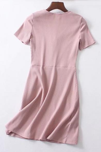 Stylish V Neck Short Sleeve Button A-line Mini Knit Dress
