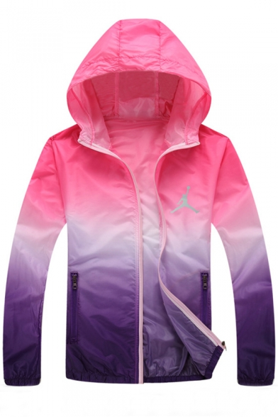 Trendy Color Block Long Sleeves Zippered Sun Protect Hooded Coat