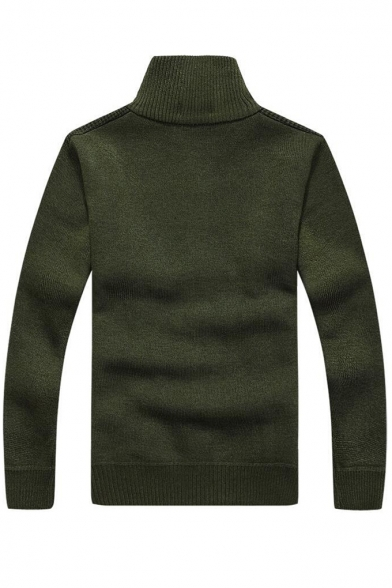 Plain Stand Trendy Collar up Sweater Zippered Long Sleeve wZT86Fq