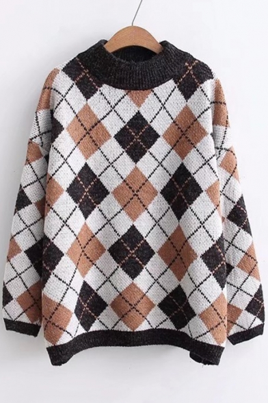 Vintage Plaid Color Block Round Neck Long Sleeve Pullover Sweater