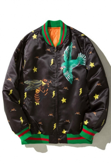 Vintage Style Contrast Trimmed Bee Bird Stars Pattern Long Sleeves Zippered Bomber Jacket