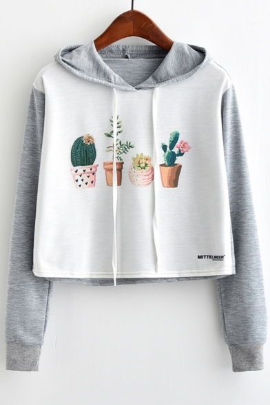 Block Color Cactus Long Hoodie Pullover Cropped Adorable Sleeves Pattern ZTvqnxtnwF