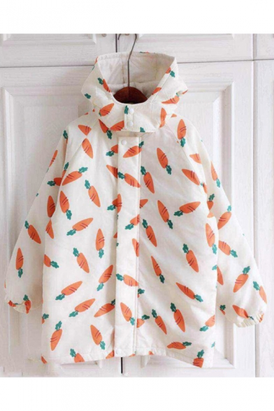 Image of Adorable Carrot Print Long Sleeve Snap Button Hooded Coat
