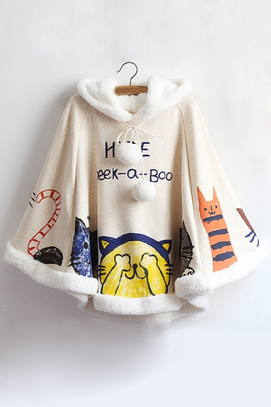 Pompons Hooded Letter Cats Fur Graphic with Faux Adorable Printed Cape 1zZUUw