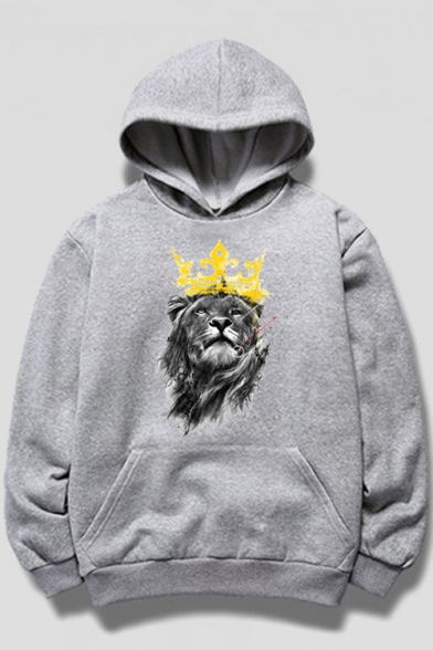 Casual Lion Crown Print Long Sleeve Hoodie with Pocket
