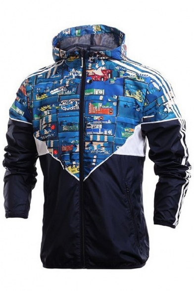 Chic Color Block Print Hooded Zip Up Long Sleeve Windproof Coat