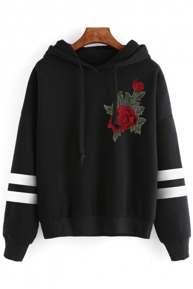 Chic Floral Embroidered Striped Long Sleeves Pullover Loose Trendy Hoodie