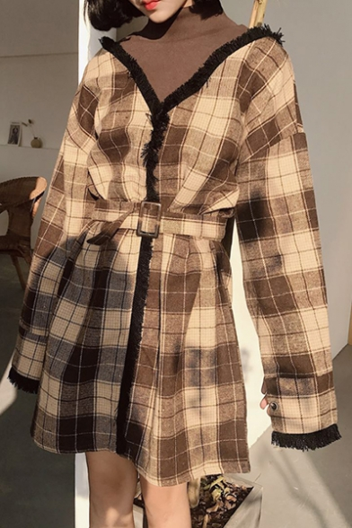 Chic Sleeve Mini Two High Shift Piece Long Dress Plaid Neck gwqragB