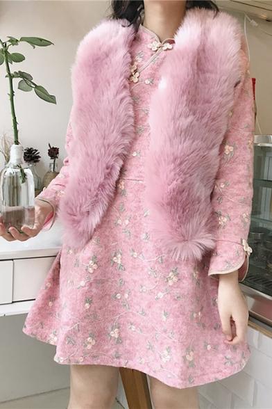 Vest Chic Faux Fur Simple Open Plain Front wrxaYqrUT