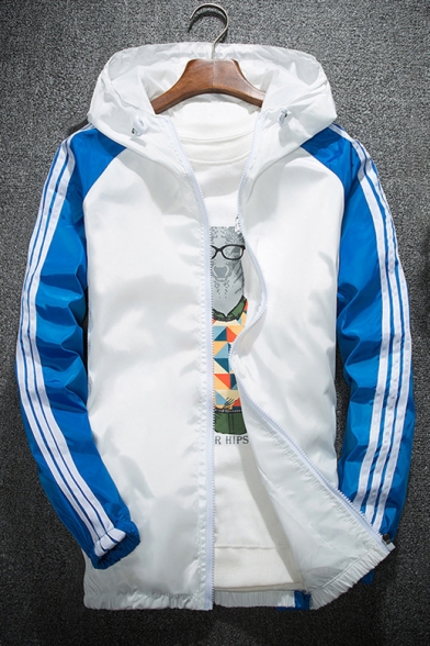 Color Block Striped Print Long Sleeve Zipper Hooded Windproof Coat