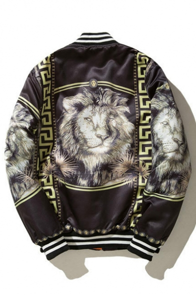 Geometric Trimmed Lion Jacket Cool Pattern Bomber Striped Sleeves Long Zippered BUqU5FWp