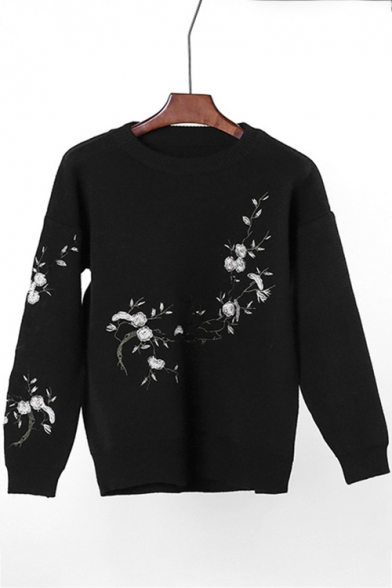 20019a5c9f4 Elegant Floral Embroidered Round Neck Long Sleeves Pullover Sweater -  Beautifulhalo.com