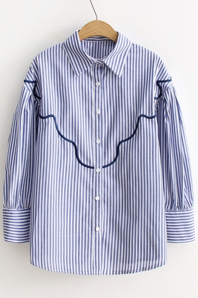 Shirt Down Striped Causal Fancy Collar Pattern Point Button wzxO1Rq4