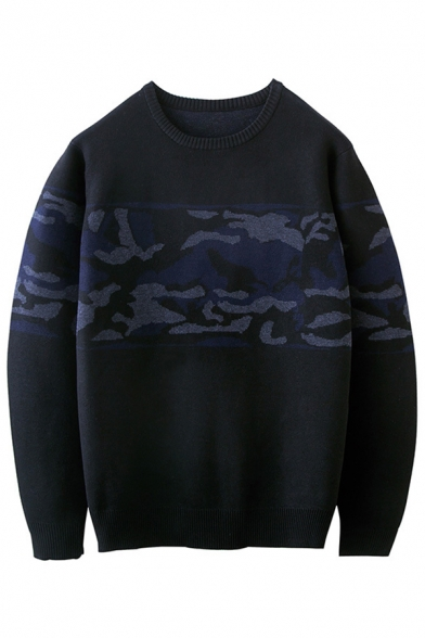 Fashion Color Block Print Long Sleeve Round Neck Pullover Sweater, LC456650, Black;blue
