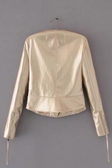 Fashionable Long Sleeve Zipper Collarless Plain Biker Jacket