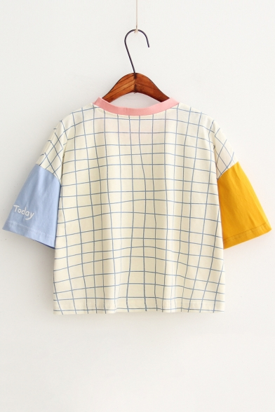 Neck Contrast Fashionable Tee Short Sleeve Cropped Plaid Print Round YwqwOgR
