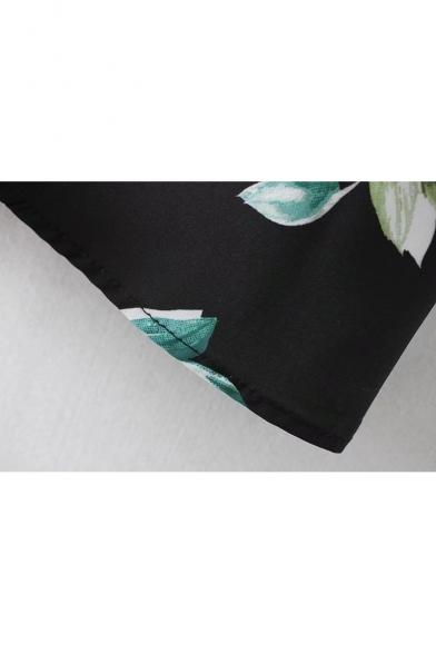 Floral Print V-Neck Flared Long Sleeve Wrap Mini Dress