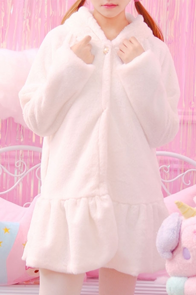 Girly Plain Long Sleeves Fluffy Faux Fur Rabbit Ears Hooded Peplum Coat with Invisible Buttons