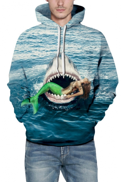 Horrifying Mermaid Shark Sea Pattern Long Sleeves Pullover Hoodie with Pocket