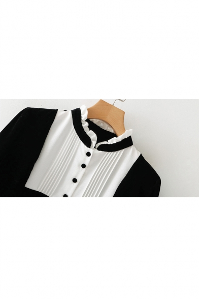 Ladylike Color Block Ruffly High Neck Half Sleeves Shift Mini Monochrome Dress with Buttons