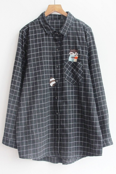 New Trendy Squirrel Embroidered Plaid Long Sleeve Button Down Shirt