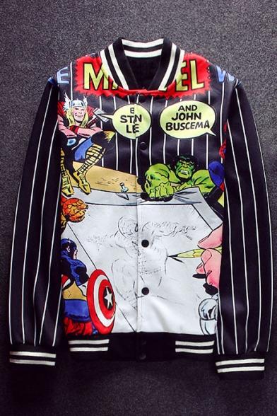 Popular Comic Cartoon Pattern Striped Long Sleeves Button Down Baseball Jacket