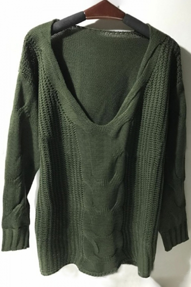 Sexy One Shoulder Long Sleeves Pullover Loose Perforated Sweater