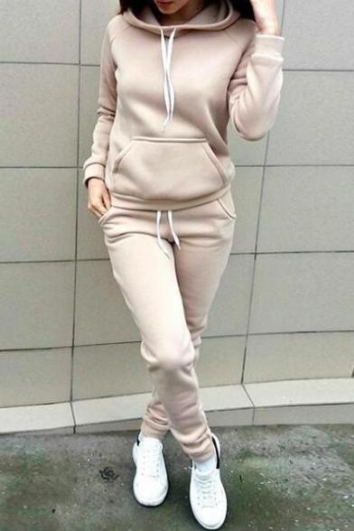 8e71085e353e12 Simple Plain Long Sleeves Pocket Hoodie with Drawstring Waist Slim-Fit Sports  Pants ...