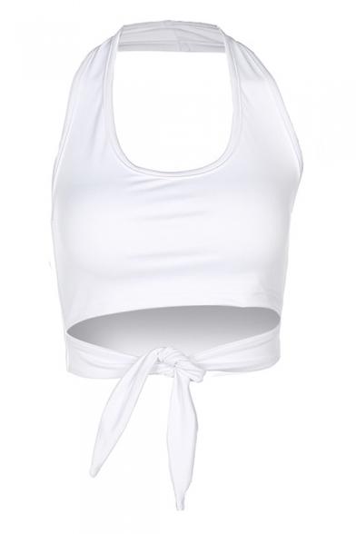9769d93c0b5 ... Simple Plain U-Neck Halter Tie Front Sleeveless Cropped Tee ...