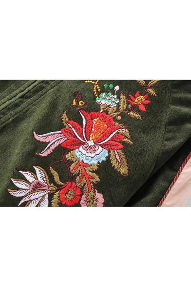 Trendy Floral Embroidered Striped Trim Long Sleeves Zippered Baseball Jacket with Pockets