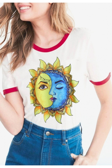 Neck Trimmed Summer Moon Round Face Sunflower Sleeves Sun Tee Short Contrast Printed Trendy 8aw6YqP