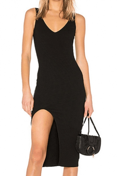 Trendy V-Neck Simple Plain Open Back Split Side Midi Tank Dress