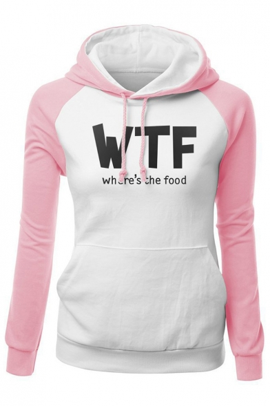 Trendy Pullover Slim Long WTF Sleeves Fit Printed Color Hoodie Pocket Block Letter with R4RqO8r