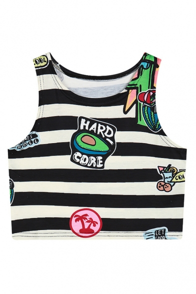 Monochrome Printed Round Casual Cropped Neck Striped Top Cartoon Tank qvz4w