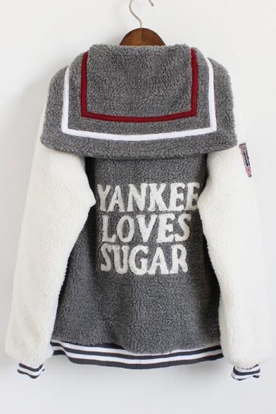 Cclor Block Letter Badge Embroidered Navy Collar Long Sleeve Baseball Coat