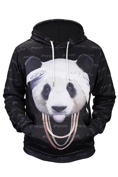 Print Cute Letter Panda Hood Unisex 3D Hoodie Drawstring Sleeve Long 4qUwZ