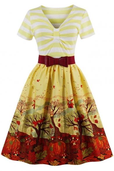 Elegant Bow V Neck Short Sleeves Belted Autumn Leaves Wind Pattern Striped Flared Midi Dress