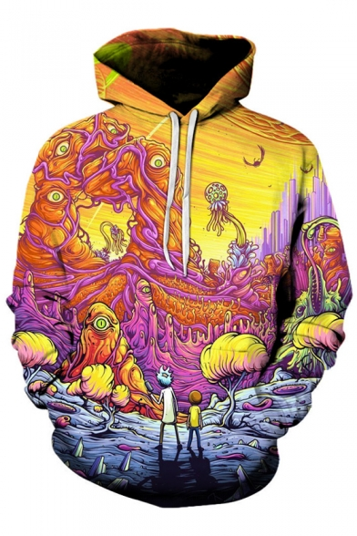 Fancy Cartoon Colorful Creature World Pattern Long Sleeves Pullover Hoodie with Pocket