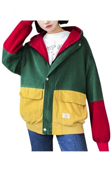 Fashionable Color Block Print Long Sleeve Zipper Hooded Coat