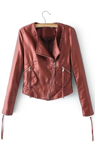 Fashionable Long Sleeve Zipper Collarless Plain Biker Jacket
