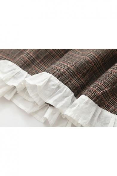 Dress Sleeve Ruffle Print Long Plaid Tie Fashionable Front Detail n0R6x8qnCw